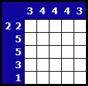 Solve a hanjie picross puzzle, example 1