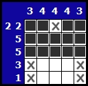 Solve a hanjie picross puzzle, exemple 4